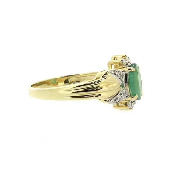 Ювелирное кольцо из жёлтого золота 585 пробы с изумрудом и бриллиантами RE-1101y