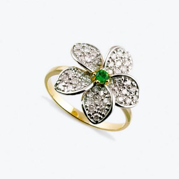 Ювелирное кольцо из красного золота 585 пробы с зеленым гранатом и бриллиантами RDtsav-6503-1