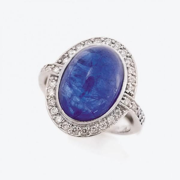 Ювелирное кольцо из белого золота 585 пробы с танзанитом и бриллиантами RTz-6649w