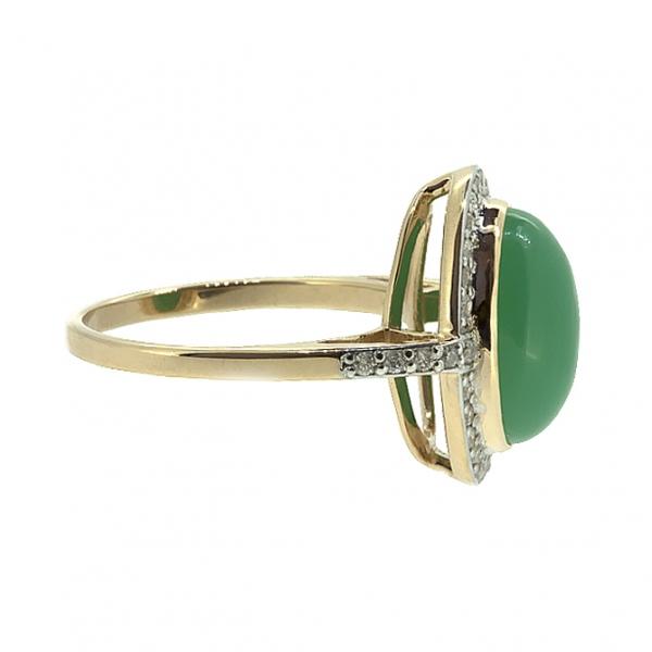 Ювелирное кольцо из красного золота 585 пробы бриллиантами с хризопразом RChr-6649