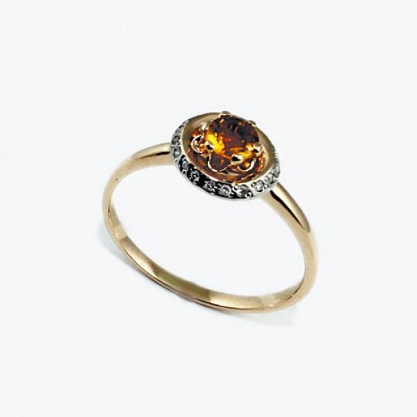 Ювелирное кольцо из красного золота 585 пробы с цитрином и бриллиантами RCt-6679