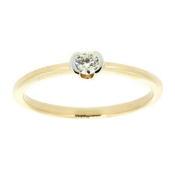 Ювелирное кольцо из красного золота 585 пробы с бриллиантом RD-6662