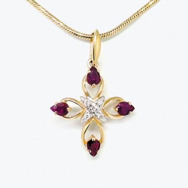 Ювелирная подвеска из красного золота 585 пробы с рубинами и бриллиантами PR-6524