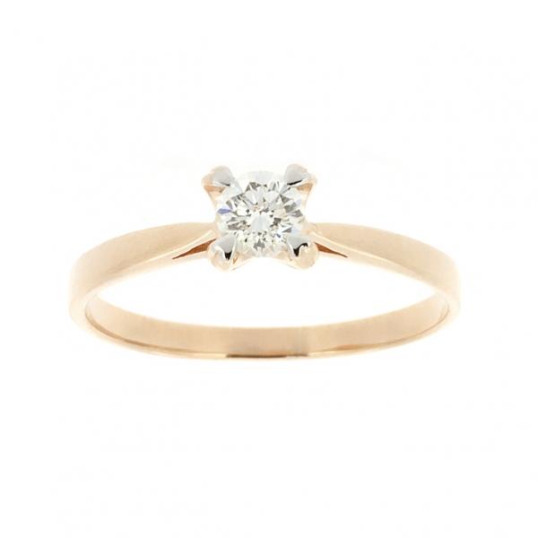 Ювелирное кольцо из красного золота 585 пробы с бриллиантом RD-6680
