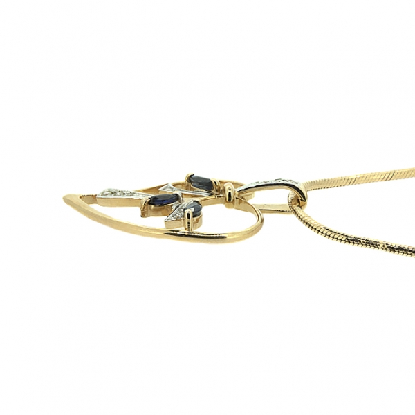 Ювелирная подвеска из красного золота 585 пробы с сапфирами и бриллиантами PS-6285