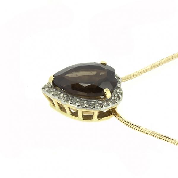 Ювелирная подвеска из красного золота 585 пробы с раухтопазом и бриллиантами PRt-6657