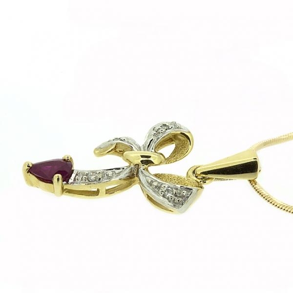 Ювелирная подвеска из жёлтого золота 585 пробы с рубином и бриллиантами PR-1008y