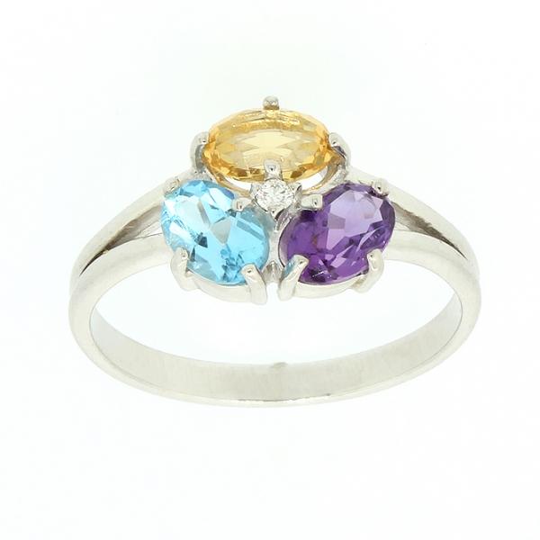 Ювелирное кольцо из белого золота 585 пробы с топазом, аметистом и цитрином RTCtAm-6669w