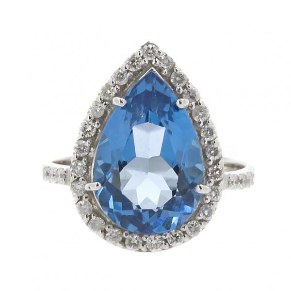 Ювелирное кольцо из белого золота 585 пробы с топазом и бриллиантами RT-6650w