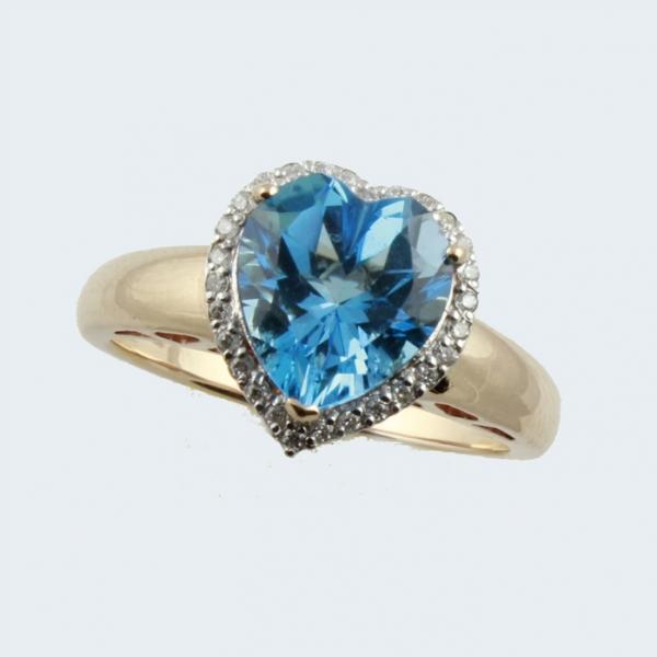 Ювелирное кольцо из красного золота 585 пробы с топазом и бриллиантами RT-6608
