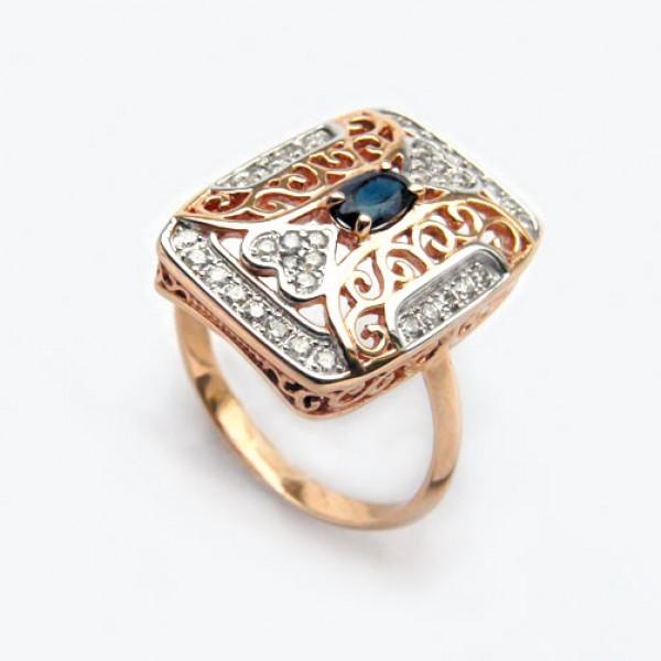 Ювелирное кольцо из красного золота 585 пробы с сапфиром и бриллиантами RS-6718
