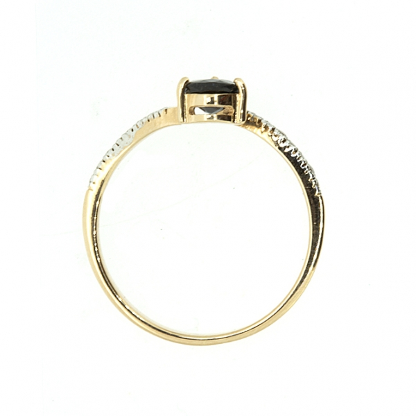 Ювелирное кольцо из красного золота 585 пробы с сапфиром и бриллиантами RS-6692