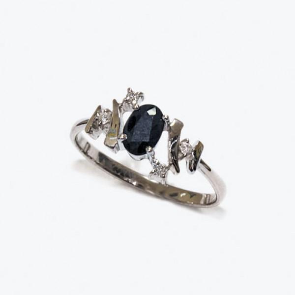 Ювелирное кольцо из белого золота 585 пробы с сапфиром и бриллиантами RS-6675w
