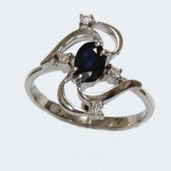 Ювелирное кольцо из белого золота 585 пробы с сапфиром и бриллиантами RS-6672w