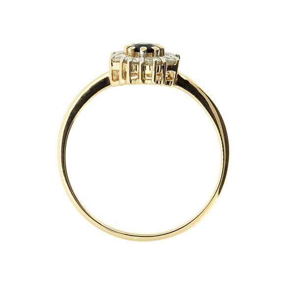 Ювелирное кольцо из красного золота 585 пробы с сапфиром и бриллиантами RS-6668