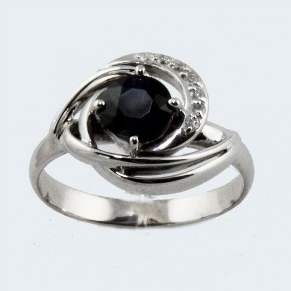 Ювелирное кольцо из белого золота 585 пробы с сапфиром и бриллиантами RS-6665w
