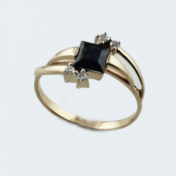 Ювелирное кольцо из красного золота 585 пробы с сапфиром и бриллиантами RS-6651