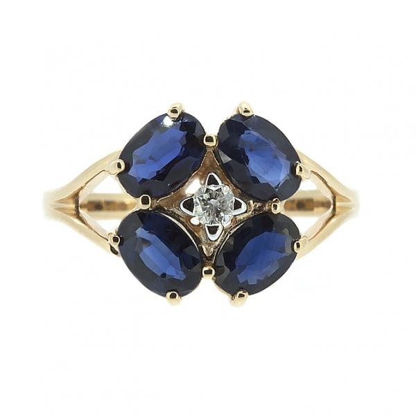 Ювелирное кольцо из красного золота 585 пробы с сапфирами и бриллиантом RS-6644