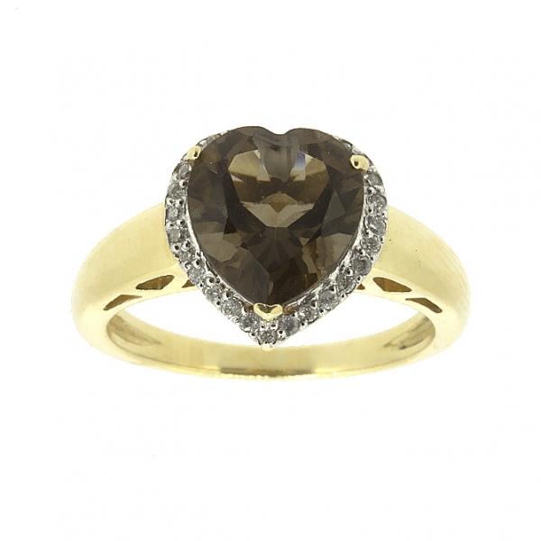 Ювелирное кольцо из жёлтого золота 585 пробы с раухтопазом и бриллиантами RRt-6608y