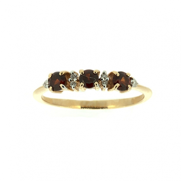 Ювелирное кольцо из красного золота 585 пробы с гранатами и бриллиантами RGn-6658