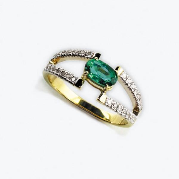 Ювелирное кольцо из красного золота 585 пробы с изумрудом и бриллиантами RE-6696
