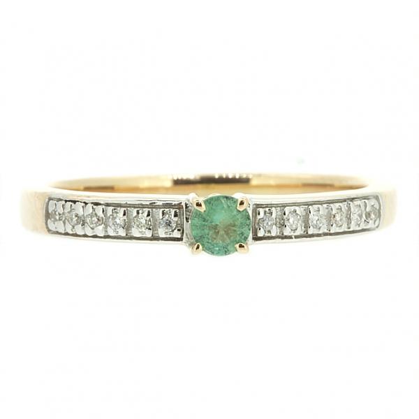 Ювелирное кольцо из красного золота 585 пробы с изумрудом и бриллиантами RE-6695