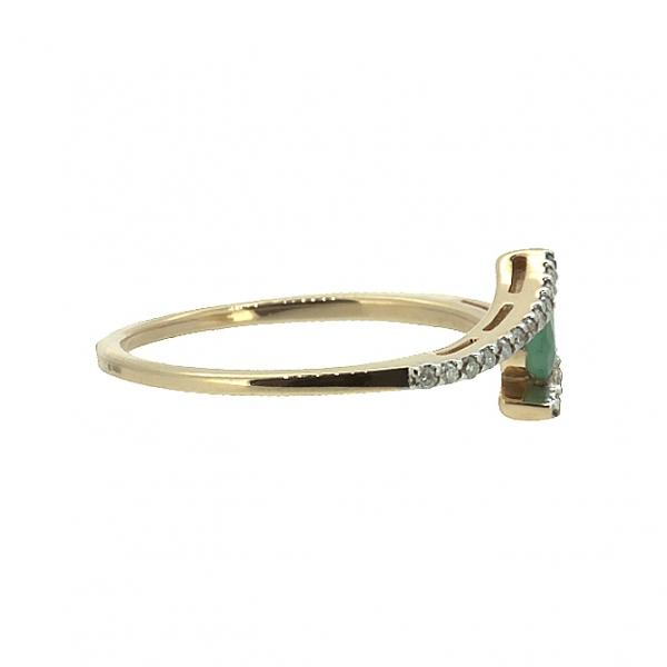 Ювелирное кольцо из красного золота 585 пробы с изумрудом и бриллиантами RE-6684