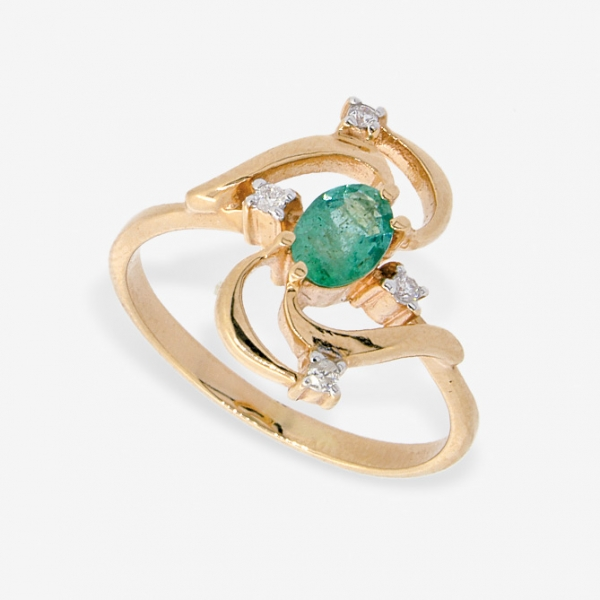 Ювелирное кольцо из красного золота 585 пробы с изумрудом и бриллиантами RE-6672