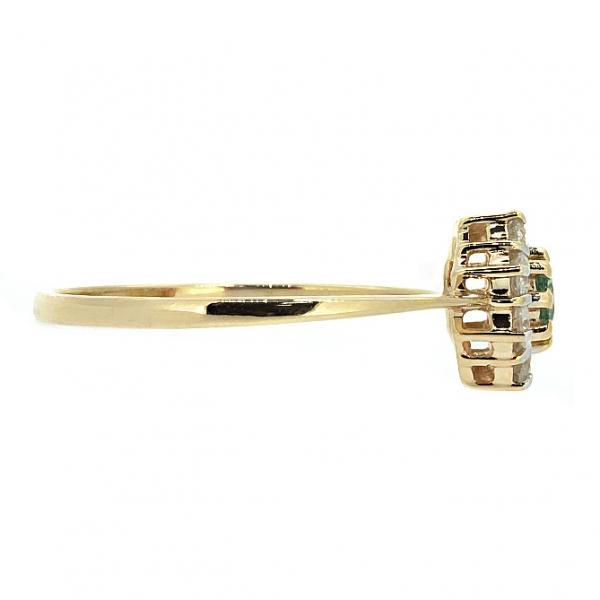 Ювелирное кольцо из красного золота 585 пробы с изумрудом и бриллиантами RE-6668