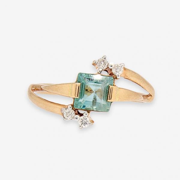 Ювелирное кольцо из красного золота 585 пробы с изумрудом и бриллиантами RE-6651