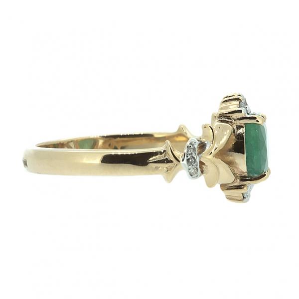 Ювелирное кольцо из красного золота 585 пробы с изумрудом и бриллиантами RE-6640