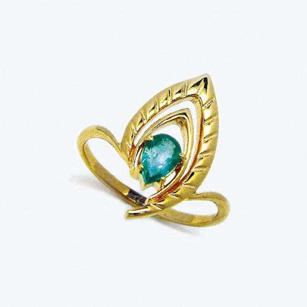 Ювелирное кольцо из красного золота 585 пробы с изумрудом RE-6635