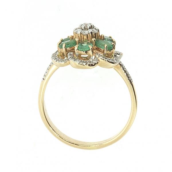 Ювелирное кольцо из красного золота 585 пробы с изумрудами и бриллиантами RE-6623