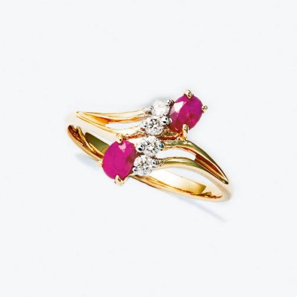 Ювелирное кольцо из красного золота 585 пробы с рубинами и бриллиантами RDR-6003