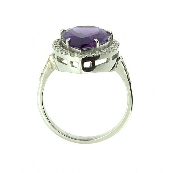 Ювелирное кольцо из белого золота 585 пробы с аметистом и бриллиантами RAm-6650w