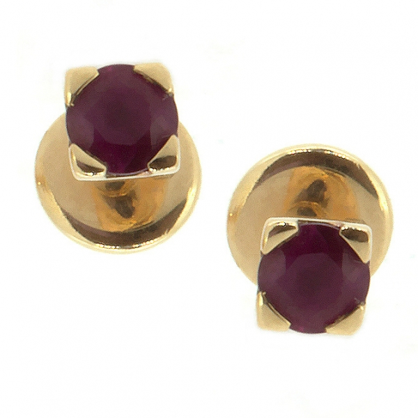 Золотые серьги-пусеты в красном золоте с рубинами ER-6559