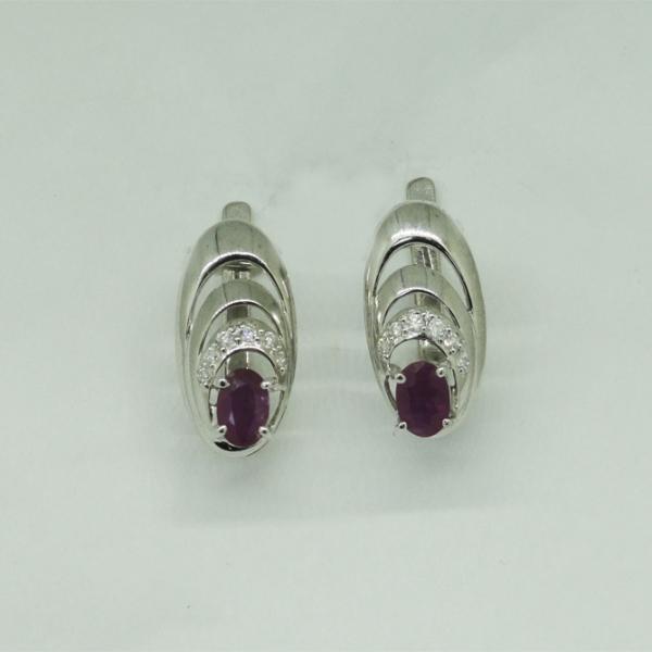 Ювелирные серьги из белого золота 585 пробы с рубинами и бриллиантами ER-6271w