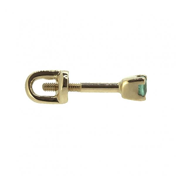 Золотые серьги-пусеты в красном золоте с изумрудами EE-6559