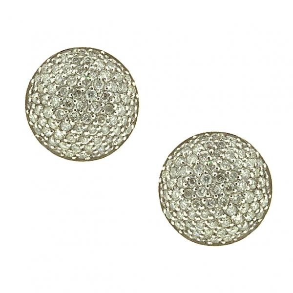 Золотые серьги-пусеты в белом золоте с бриллиантами ED-6694w