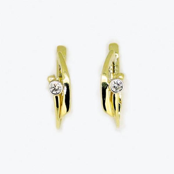Ювелирные серьги из жёлтого золота 585 пробы с бриллиантами ED-6636y