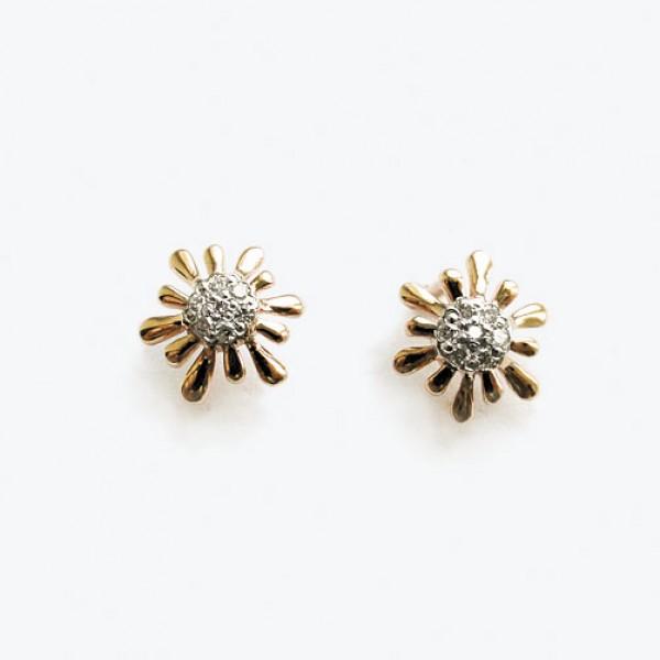 Золотые серьги-пусеты в красном золоте с бриллиантами ED-6597