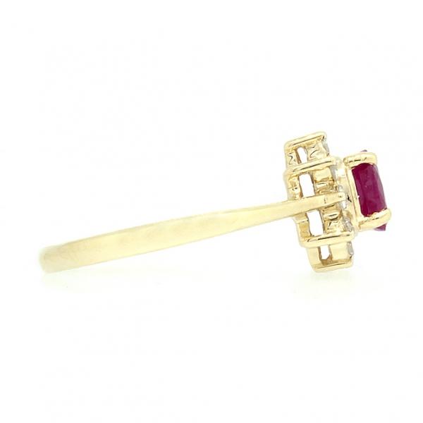 Ювелирное кольцо из жёлтого золота 585 пробы с рубином и бриллиантами RR-4235y