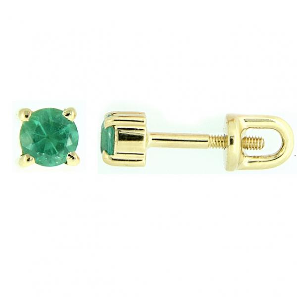 Золотые серьги-пусеты в желтом золоте с изумрудами EE-6633y
