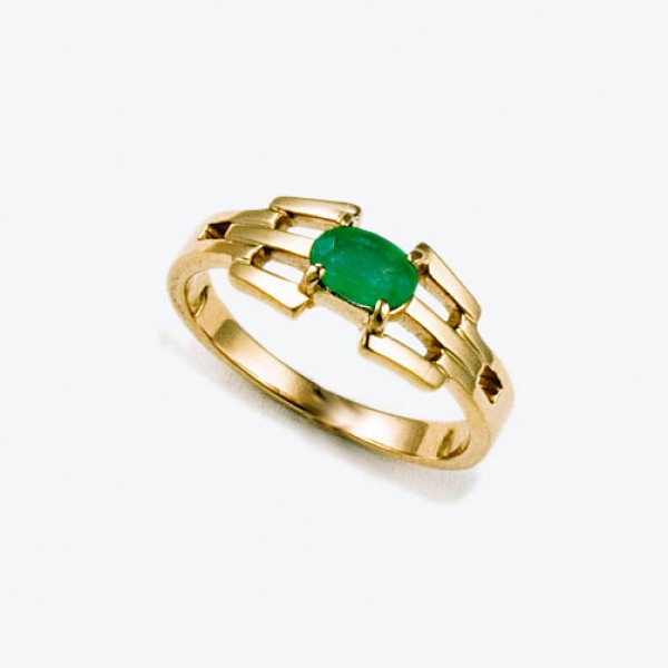 Ювелирное кольцо из красного золота 585 пробы с изумрудом RE-6595