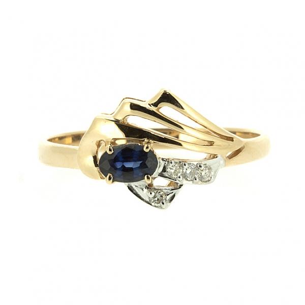 Ювелирное кольцо из красного золота 585 пробы с сапфиром и бриллиантами RS-6736