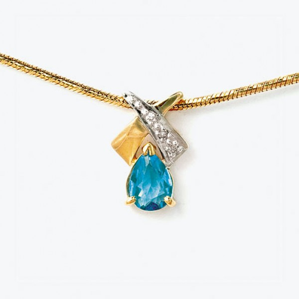 Ювелирная подвеска из жёлтого золота 585 пробы с топазом и бриллиантами PТ-16984y