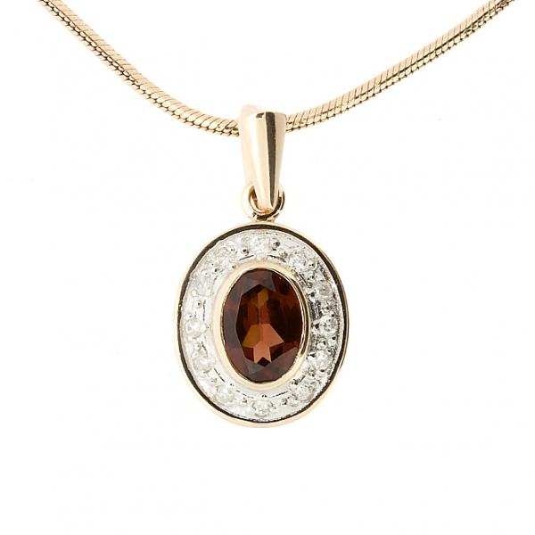 Ювелирная подвеска из красного золота 585 пробы с гранатом и бриллиантами PGn-6172