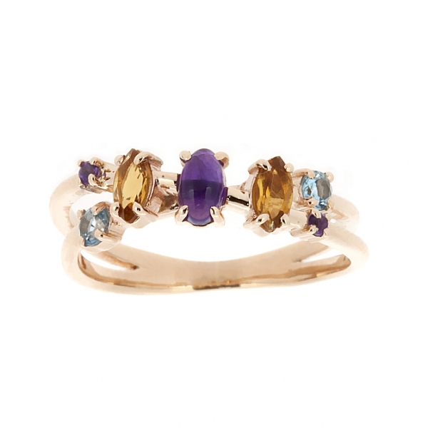 Ювелирное кольцо из красного золота 585 пробы с топазами, аметистами и цитринами RCtTAm-6698