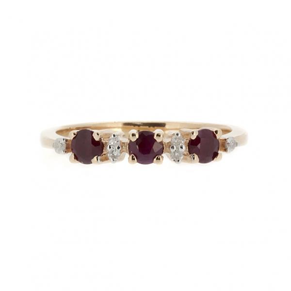 Ювелирное кольцо из красного золота 585 пробы с рубинами и бриллиантами RR-6658