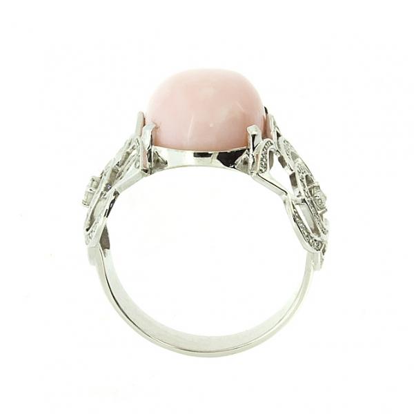 Ювелирное кольцо из белого золота 585 пробы с розовым опалом и бриллиантами ROp/r-6515w